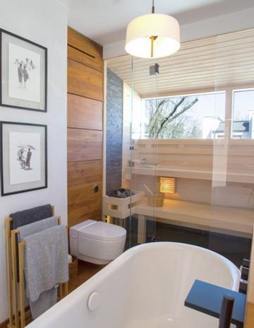 Pokój kąpielowy. Przeszklenie w saunie suchej.