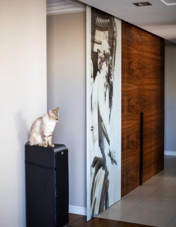 Drzwi szklane z laminowaną grafiką.