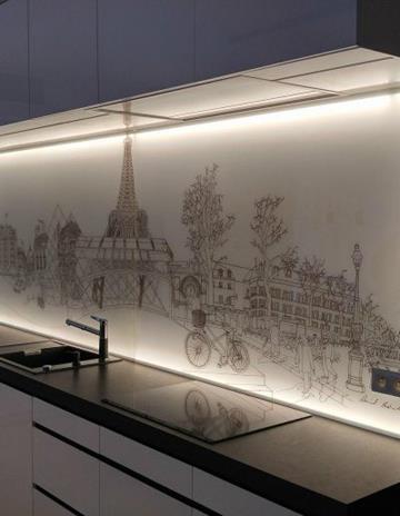Panele kuchenne na ramie z podświetleniem LED.